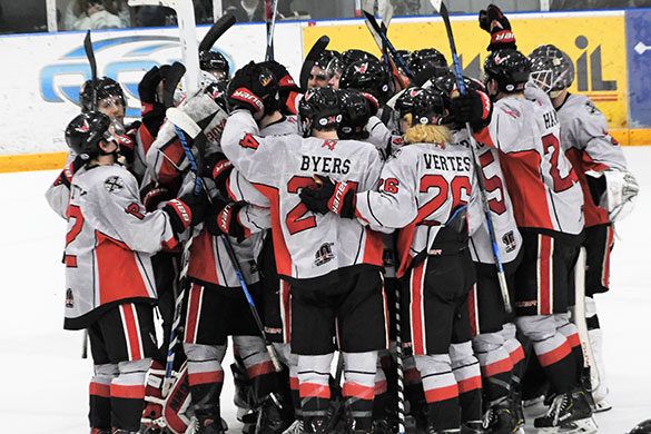 Aberdeen Wings huddle up after the game