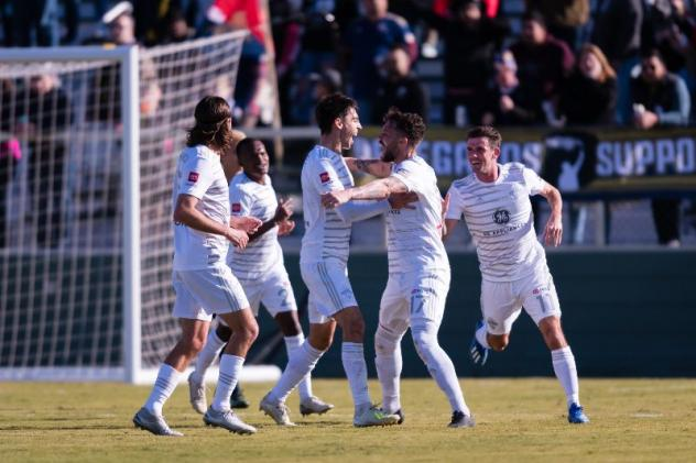 Cameron Lancaster and Louisville City FC celebrate his goal
