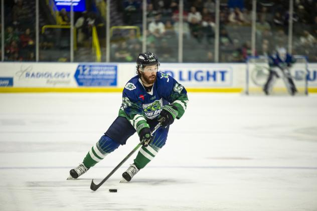 Florida Everblades center Hunter Garlent in his Florida Skunk Apes uniform