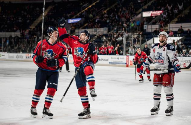 Springfield Thunderbirds celebrate a goal against the Hartford Wolf Pack