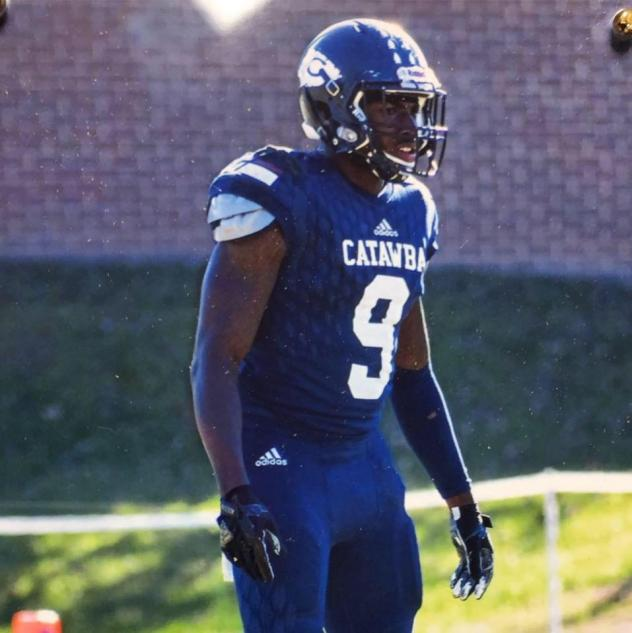 Defensive back Chris Thompson with Catawba