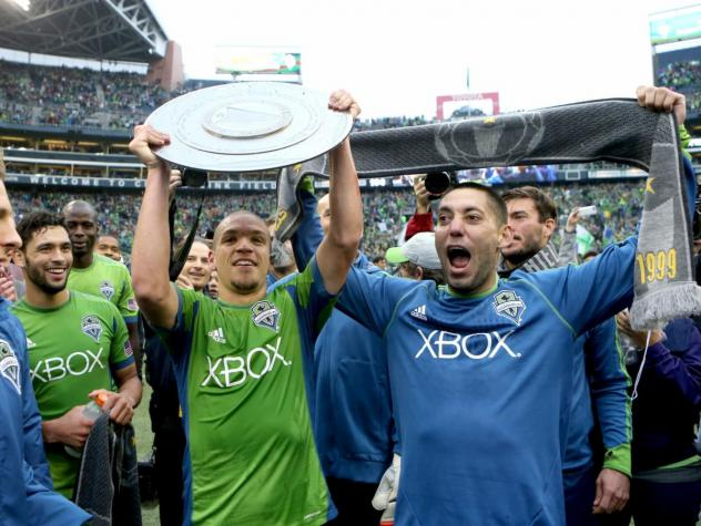 Seattle Sounders FC celebrates the 2014 Supporters' Shield