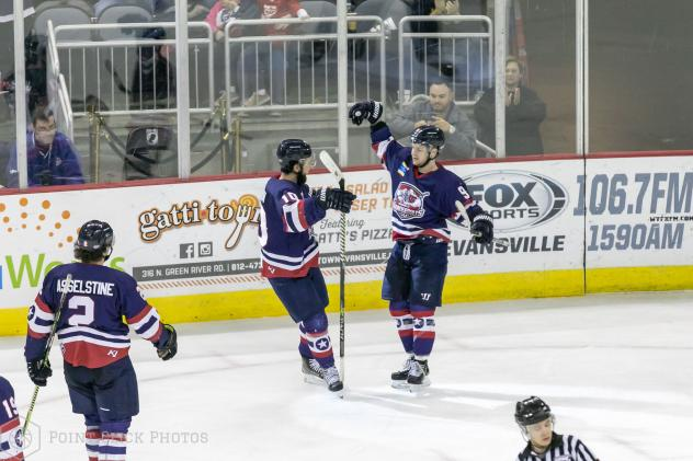 Austin Plevy of the Evansville Thunderbolts celebrates