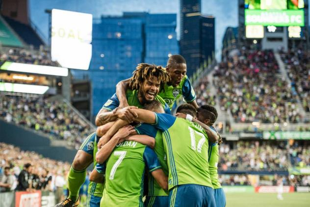 Seattle Sounders FC celebrates a 2017 comeback win over D.C. United