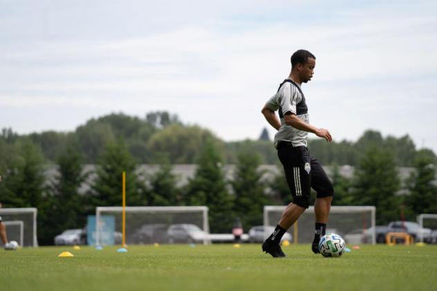 Seattle Sounders FC Midfielder Jordy Delem training at Starfire Sports on Thursday