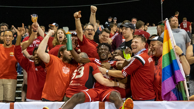 Richmond Kickers fans celebrate with the team