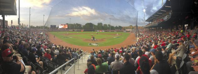 A crowd at Segra Stadium, home of the Fayetteville Woodpeckers