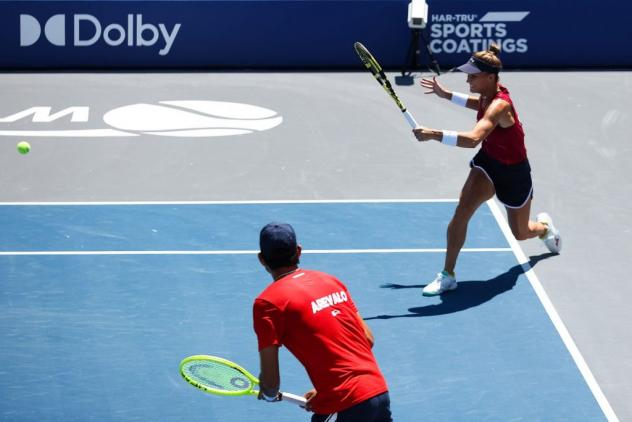 The Washington Kastles battles in mixed doubles