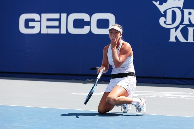 Coco Vandeweghe of the New York Empire reacts after scoring with the winning point in the World TeamTennis Championship