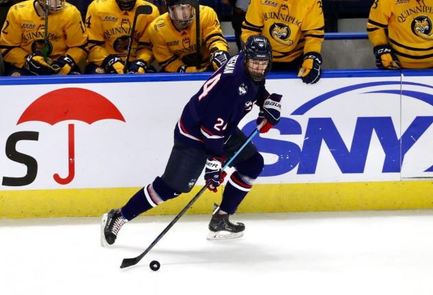 Forward Ben Freeman skating for the University of Connecticut