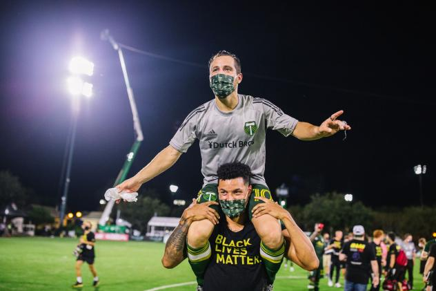 Portland Timbers celebrate their victory over the Philadelphia Union at the MLS Is Back Tournament