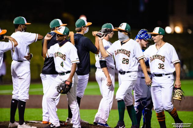 Joliet Slammers and NERDS Herd exchange elbow bumps