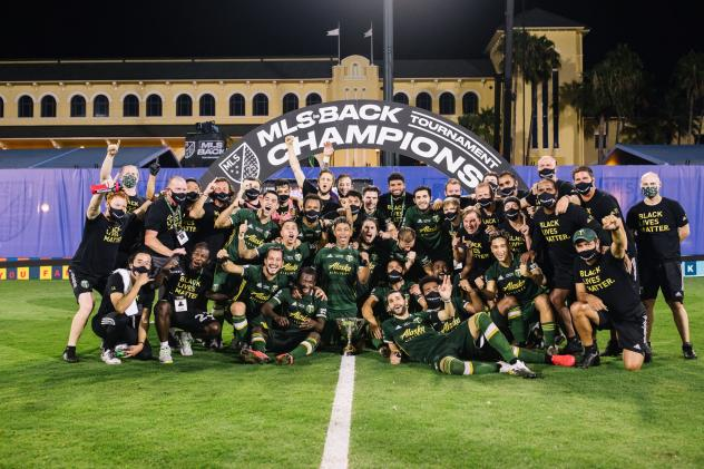 Portland Timbers celebrate the MLS Is Back Tournament title