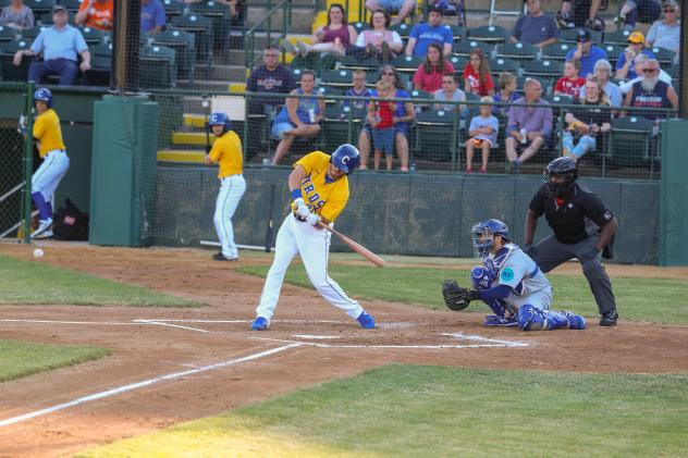 Mike Hart takes a swing for the Sioux Falls Canaries