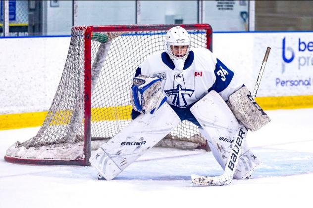 Goaltender Anson Thornton with the Toronto Titans Midget AAA program