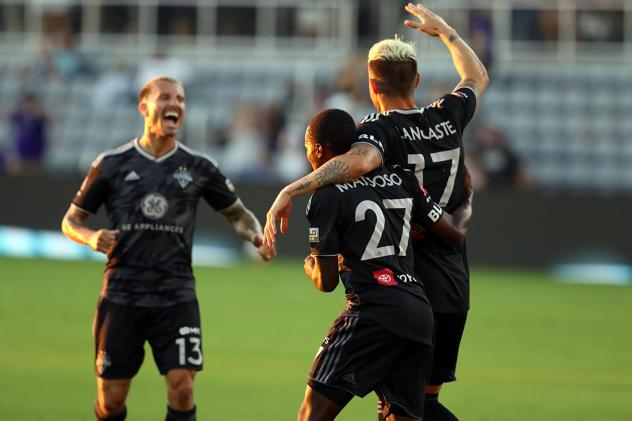 Louisville City FC celebrates a goal against Sporting Kansas City II