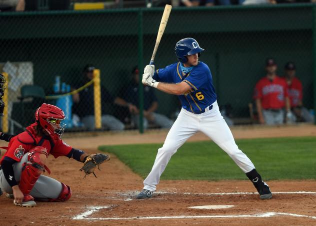 Logan Landon at bat for the Sioux Falls Canaries