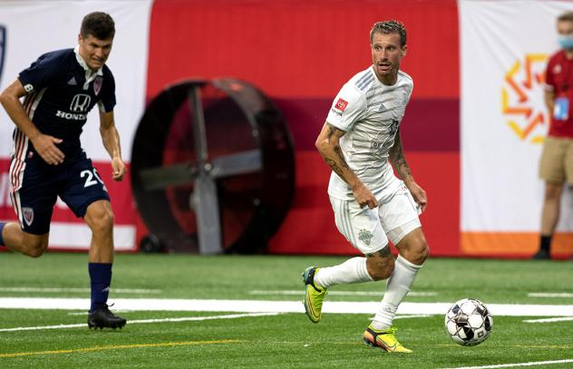 Louisville City FC with possession against Indy Eleven
