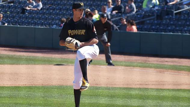 Blake Cederlind pitches for the West Virginia Power
