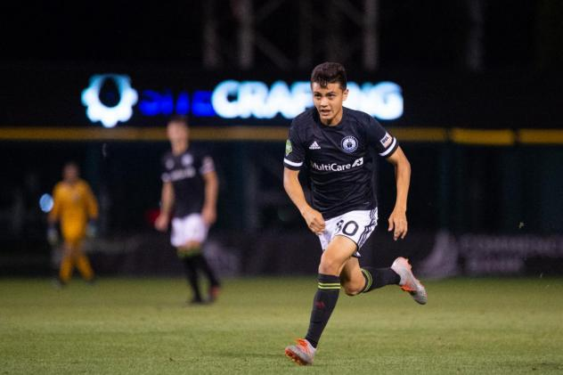 Ray Serrano scored one of Tacoma Defiance's goals in a 3-2 loss to Reno 1868 FC on Thursday
