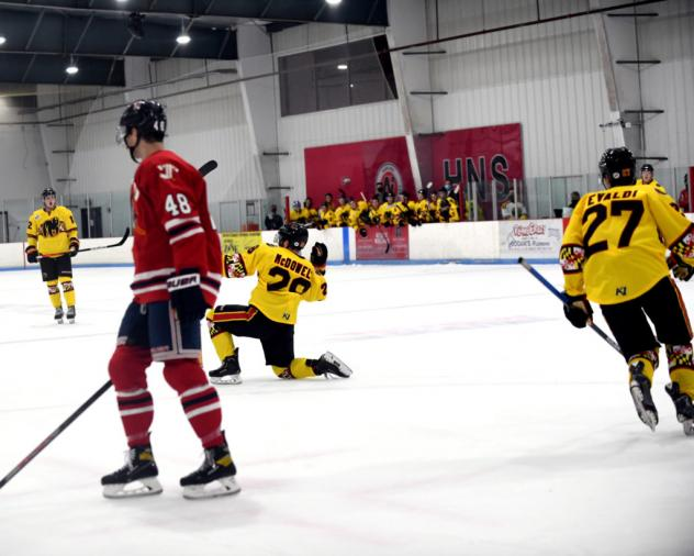 Maryland Black Bears react after a goal against the Johnstown Tomahawks