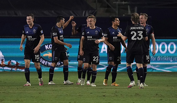 The San Jose Earthquakes celebrate one of their four goals vs. the LA Galaxy on Wednesday