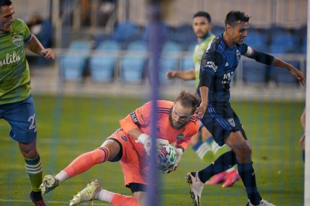 Seattle Sounders FC goalkeeper Stefan Frei makes a save against the San Jose Earthquakes