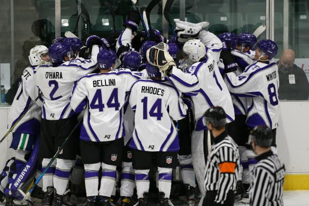 The Tri-City Storm celebrates their overtime win against the Omaha Lancers