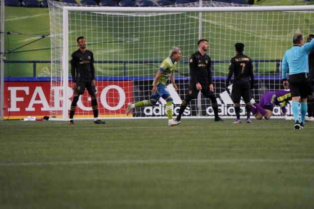 Seattle Sounders FC react after a goal against LAFC