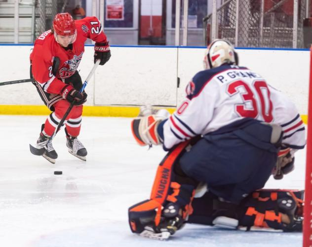 New Jersey Titans forward Jake LaRusso moves in on goal