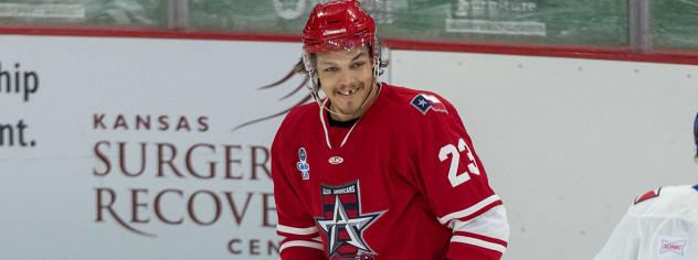 Defender Cole Fraser with the Allen Americans
