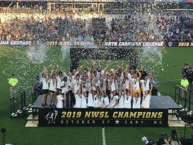 The North Carolina Courage celebrate the 2019 NWSL title