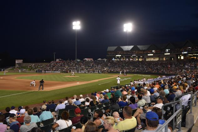 A crowd watches the Somerset Patriots