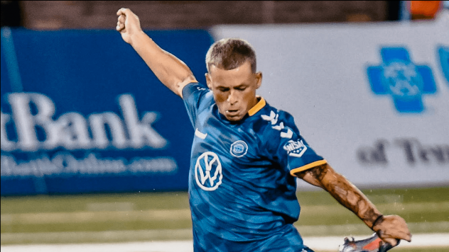 Forward Clayton Adams with Chattanooga FC