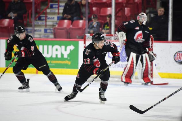 Forward Peyton McKenzie with the Moose Jaw Warriors