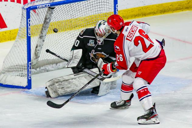 Allen Americans forward Spencer Asuchak scores on a penalty shot against the Utah Grizzlies