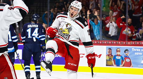 Grand Rapids Griffins celebrate in front of the fans