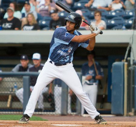 Riley Greene at bat for the West Michigan Whitecaps