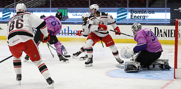 Grand Rapids Griffins battle the Cleveland Monsters