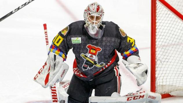 Rockford IceHogs in their Autism Awareness jerseys