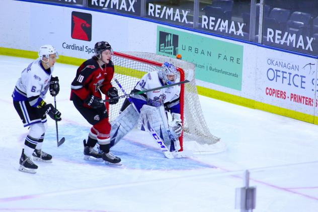 Vancouver Giants left wing Zach Ostapchuk (10) in front of the Victoria Royals goal