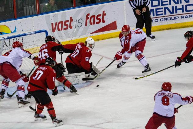 Colby McAuley scores for the Allen Americans against the Rapid City Rush