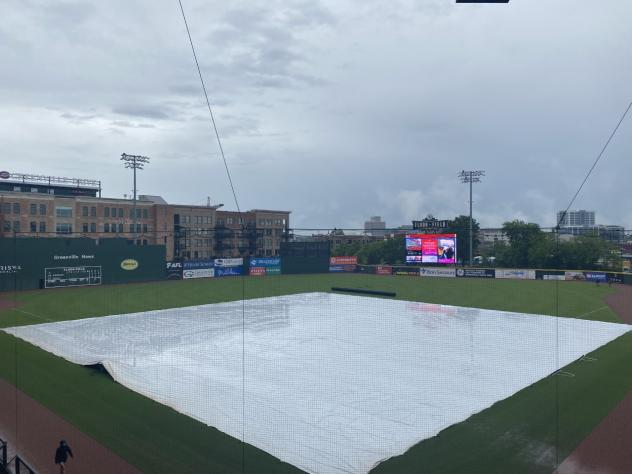 The tarp over Fluor Field, home of the Greenville Drive