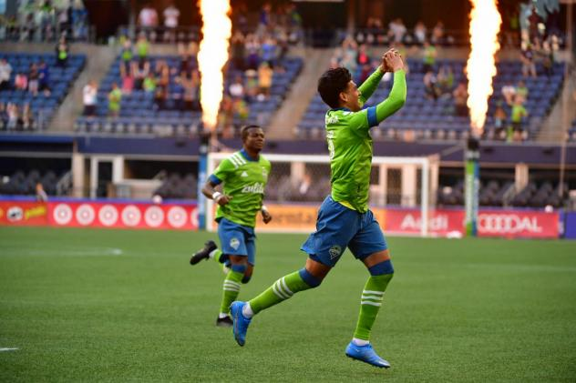 Seattle Sounders FC reacts to the crowd