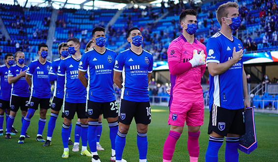 San Jose Earthquakes lineup for the National Anthem