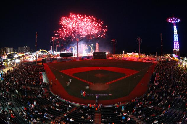 Fireworks over Maimonides Park, home of the Brooklyn Cyclones