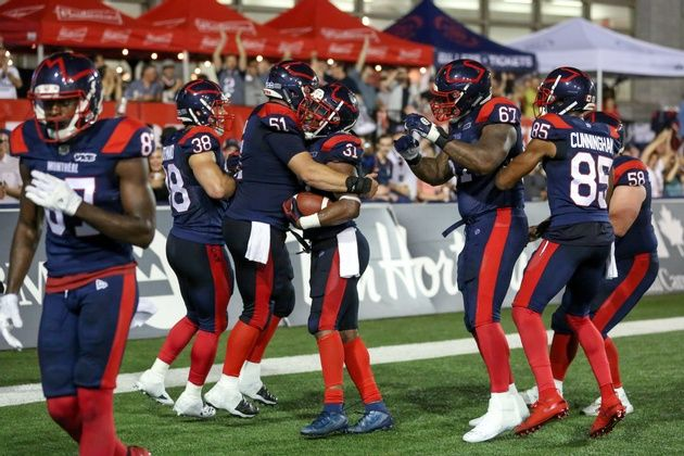 Montreal Alouettes celebrate a touchdown