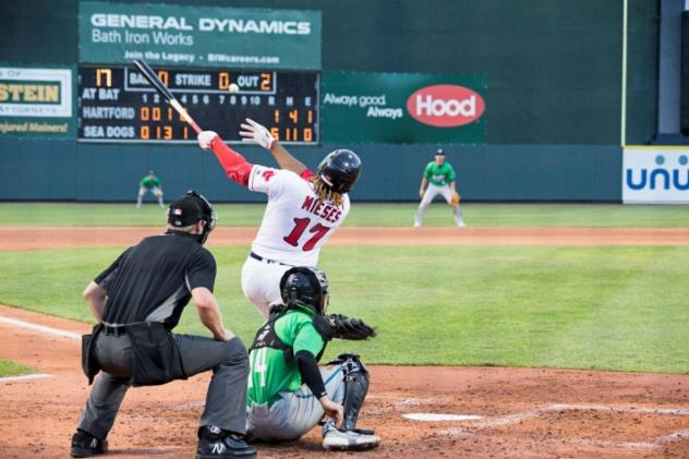 Johan Mieses of the Portland Sea Dogs with a big swing