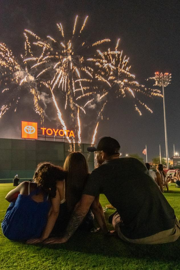 Fireworks over Chukchansi Park, home of the Fresno Grizzlies