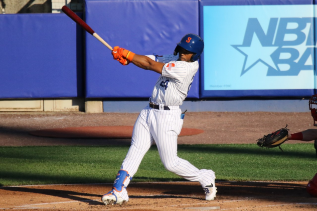 Khalil Lee hit his first home run of the season on Saturday night for the Syracuse Mets